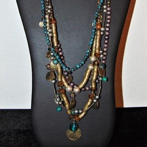 Gorgeous Multi Strand Necklace with Dangling Beads